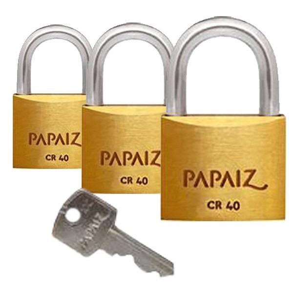 902b2d6570c38 Cadeado Papaiz 40mm C 10 Peças Mesmo Segredo - R  289
