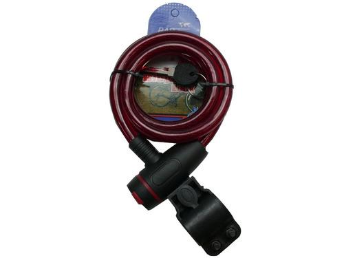 cadeado para bicicleta 1,2 m e 12 mm em aço  rad 7 vermelho