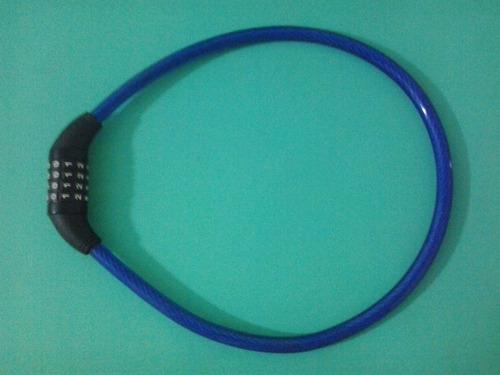 cadeado tranca para bicicleta troca segredo 80x12 cor azul