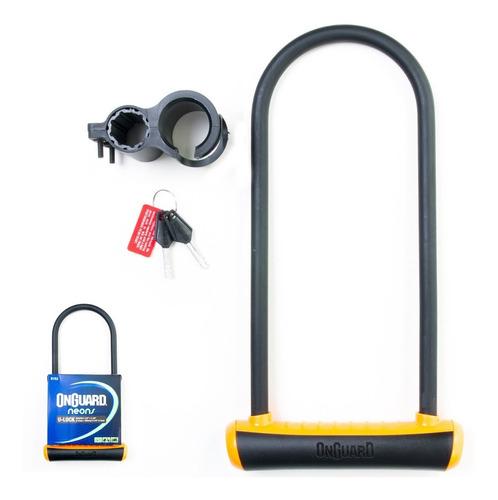 cadeado trava u-lock onguard 8152 chave bike moto laranja nf