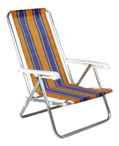 cadeira alta reclinável de praia alumínio piscina bel 25000