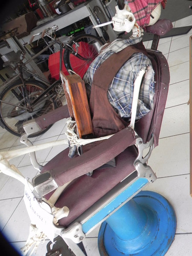 cadeira barbeiro ferrante enclina antiga ferro restauro
