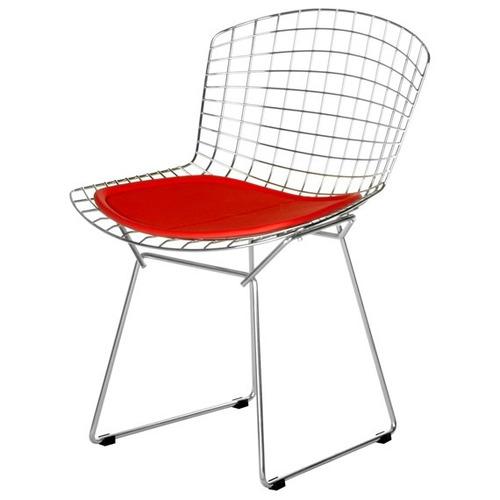 cadeira bertoia cromada  assento amarelo - promoção outubro