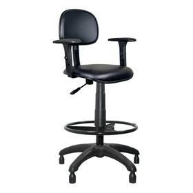 Cadeira Caixa Alta Estofada Couro Eco Preto Com Braços