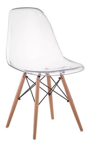 cadeira charles eames eiffel wood policarbonato transparente