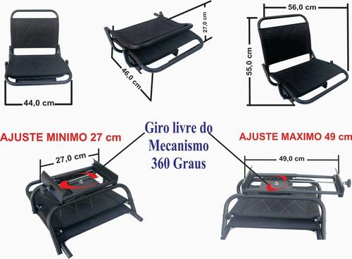 cadeira de barco p/pesca giratória telada preta