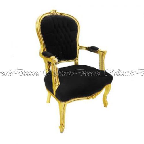 cadeira de braço poltrona capitonê c/ folha de ouro luiz xv