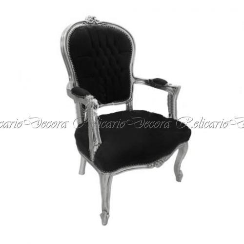 cadeira de braço poltrona capitonê c/folha de prata luiz xv.