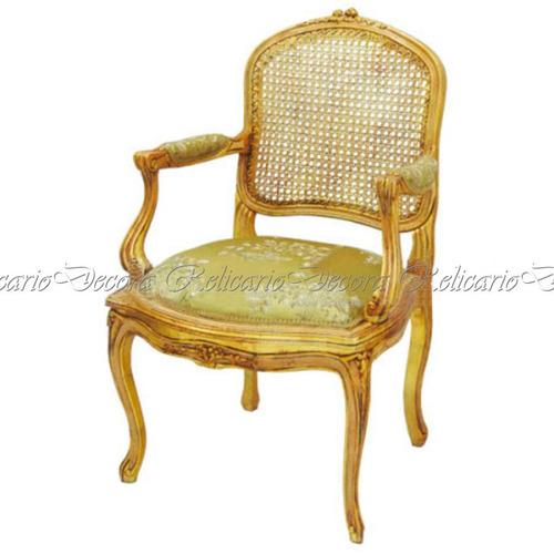 cadeira de braço poltrona luiz xv encosto palhinha