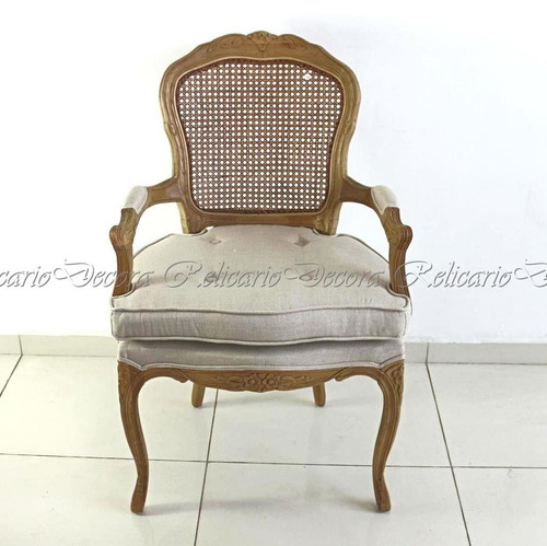 cadeira de braço poltrona luiz xv encosto palhinha design