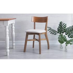 Cadeira De Cozinha Estofada Bella Amendoa E Courino Offwhite