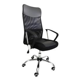Cadeira De Escritório Pelegrin 8009 Ergonômica  Preta Con Estofado Do Couro Sintético E Mesh