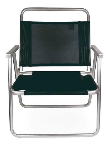 cadeira de praia oversize alumínio suporta até 140kg preta