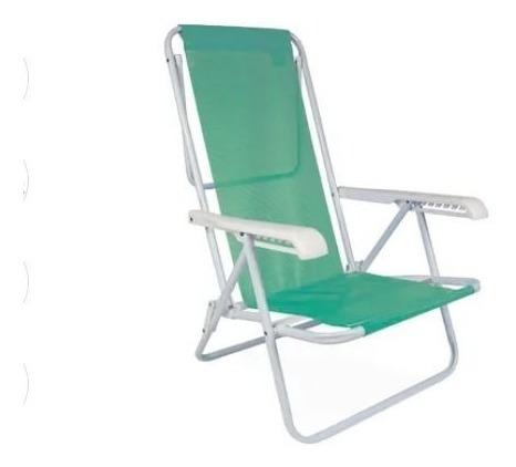 cadeira de praia reclinável 8 posições verde em aço mor