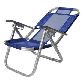 Cadeira De Praia Reclinável Alta Ipanema Azul Royal Botafogo