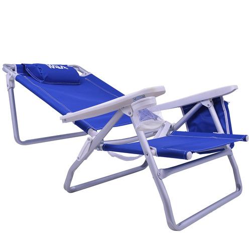 cadeira de praia reclinável com bolsa térmica azul kala
