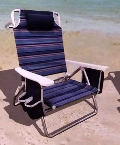 cadeira de praia reclinável com bolsa térmica para cervejas