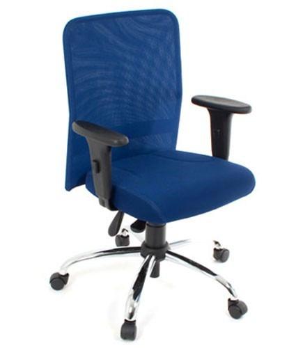 cadeira diretor em tela com braços base back system cromada