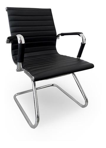 cadeira diretor para escritório com base fixa preta em pu