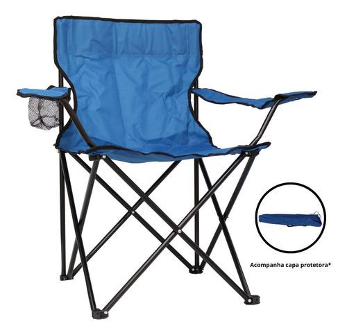 cadeira dobrável azul camping praia pesca c/ capa protetora