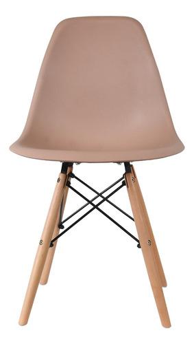 cadeira eames exeway com pés de madeira, nude