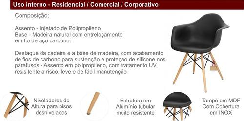 cadeira eames wood com braço. base madeira assento poliprop.