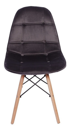 cadeira eiffel botonê estofada veludo base madeira