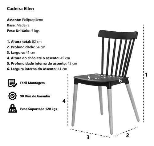 cadeira ellen polipropileno base madeira várias cores