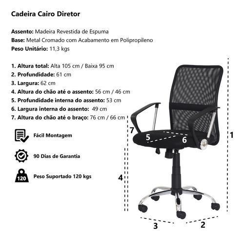 cadeira escritório cairo diretor mesh preta base giratória c