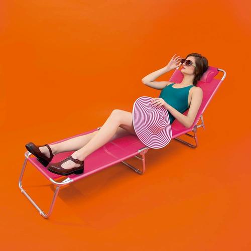 cadeira espreguiçadeira alumínio piscina praia 4 pos - mor