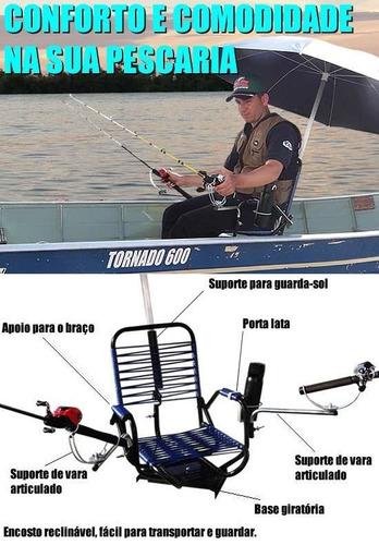 cadeira fio p/ pesca com apoio p/ braço e suporte guarda sol
