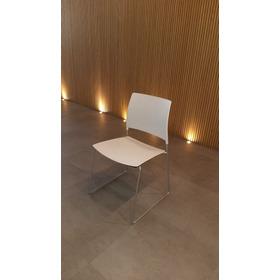 Cadeira Fixa Base Continua Prata Sem Braço - Cavalli