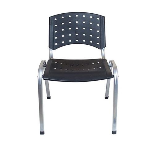 cadeira fixa secretaria escritorio office cromada preta