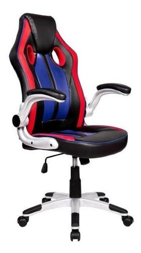 cadeira gamer pelegrin pel3009 couro pu vermelha/preta eazul