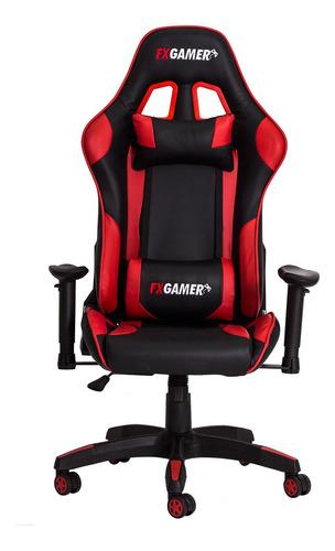 cadeira gamer racer inclinável preta com verm frete grátis!