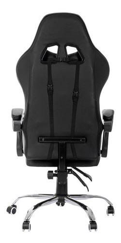cadeira gamer reclinável até 70º giratória couro pu gaming