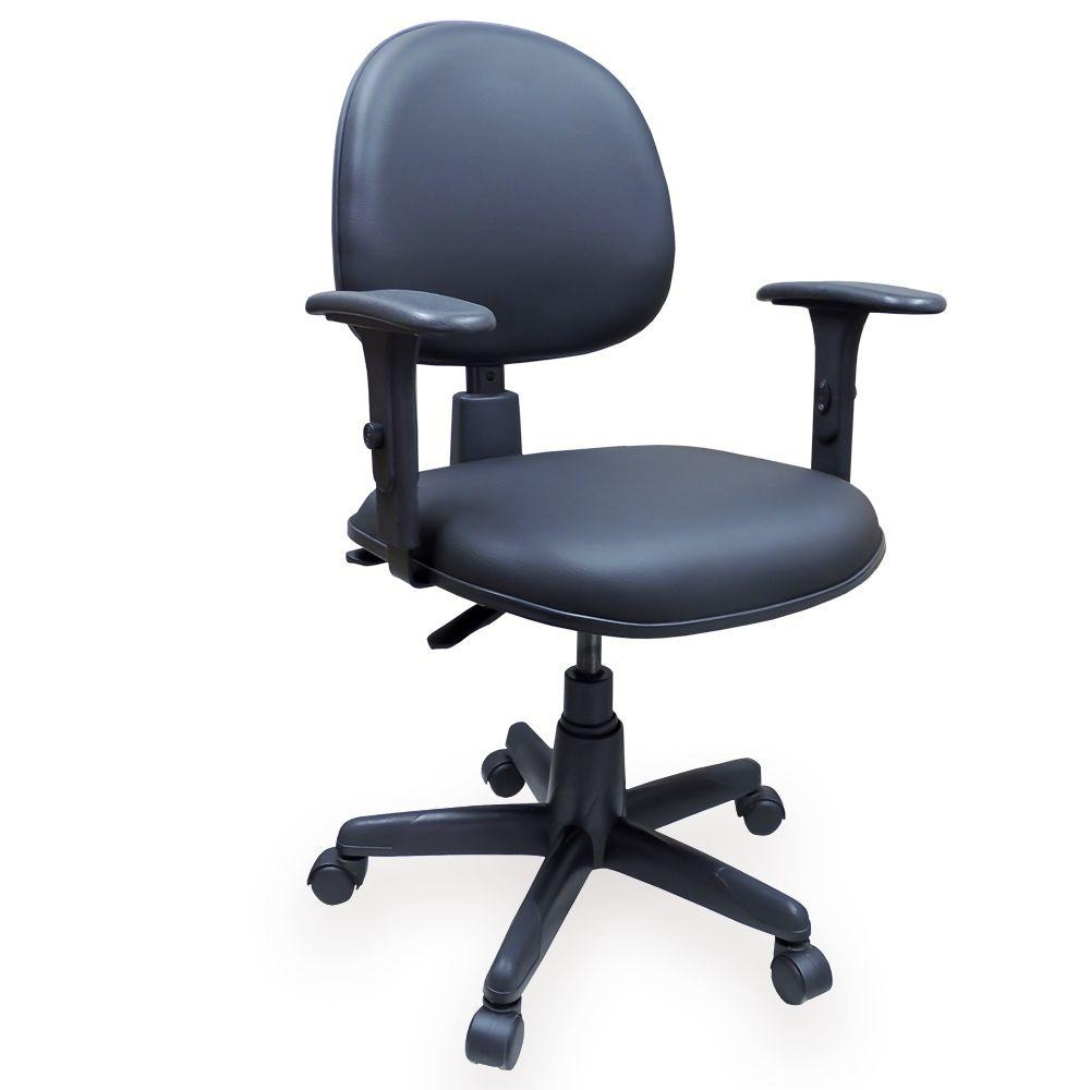 886caf553 Cadeira Giratória Ergonômica Couro Ecológico Preta Nr17 Back - R ...