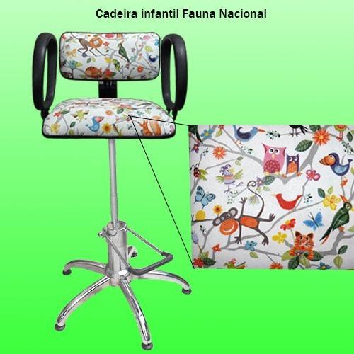 cadeira hidráulica corte infantil estampa ecológica