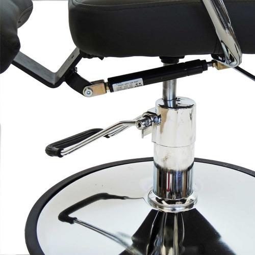 cadeira hidráulica reclinável p/ salão/ barbeiro em couro pu