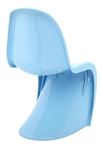 cadeira panton curve design jantar cozinha brilho azul claro