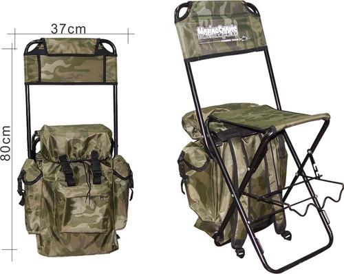 cadeira pesca c/mochila hms043,dobrável c/suporte para vara