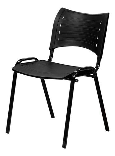 cadeira plástica iso 10 unidades preta