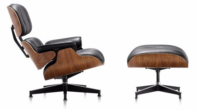 cadeira poltrona charles eames com puff em couro design r em mercado livre. Black Bedroom Furniture Sets. Home Design Ideas