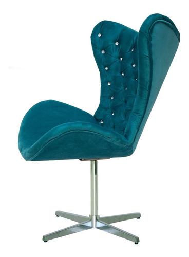 cadeira poltrona egg cor azul turquesa capitonê com strass