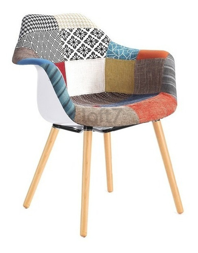 cadeira poltrona estofada eames patchwork retro vintage
