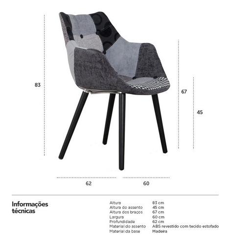 cadeira poltrona estofada eleven retro vintage cinza