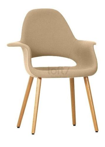 cadeira  poltrona estofada orgânica retro sala caqui