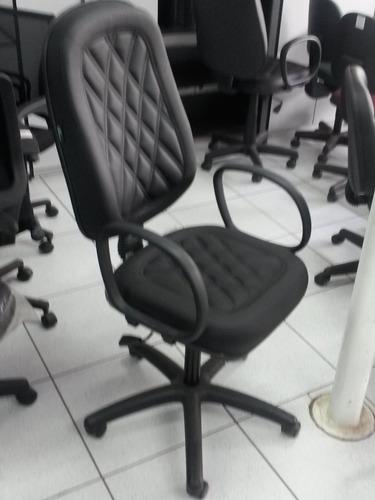 cadeira poltrona presidente com costura corino - (nova)