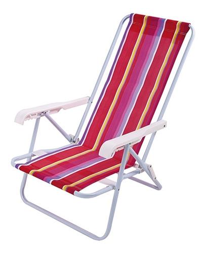 cadeira praia reclinavel 4 posicoes aco mor - ref 2004