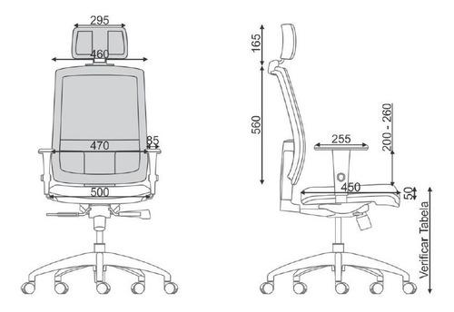 cadeira presidente brizza apoio p/ cabeça - encosto em tela